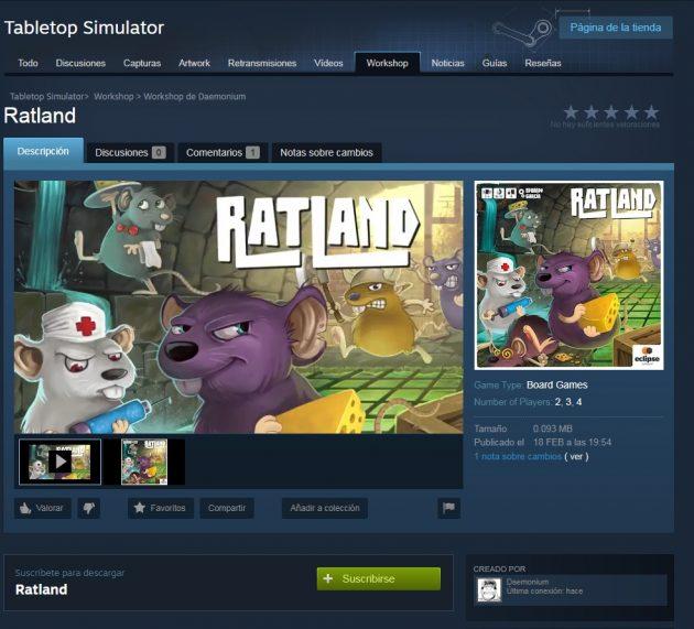 ¡Ratland en Tabletop Simulator!